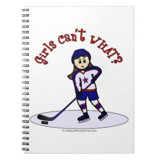 Light Girls Hockey Player Notebooks
