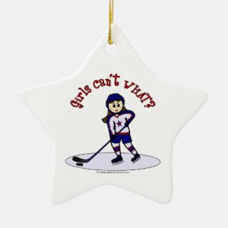 Light Girls Hockey Player Double-Sided Star Ceramic Christmas Ornament