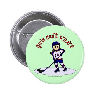 Light Girls Hockey Player Pinback Button