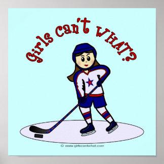 Light Girls Hockey Player Poster