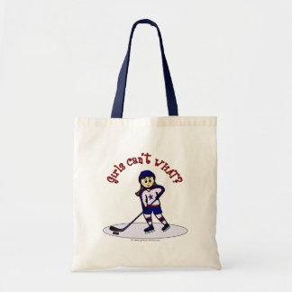 Light Girls Hockey Player Tote Bag