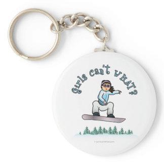 Light Girls Snowboarding Basic Round Button Keychain