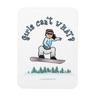 Light Girls Snowboarding Rectangular Photo Magnet