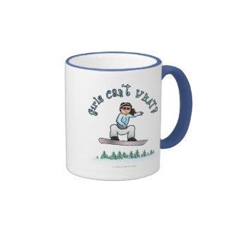 Light Girls Snowboarding Ringer Mug