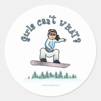 Light Girls Snowboarding Classic Round Sticker