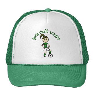 Light Girls Soccer in Green Uniform Trucker Hat