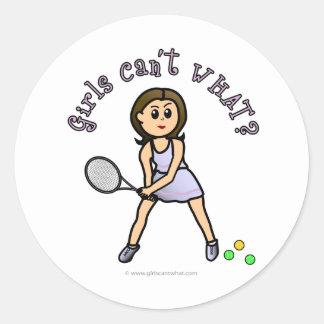 Light Girls Tennis Player Classic Round Sticker