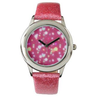 Light Glow Balloons Dark Magenta Design Wrist Watch