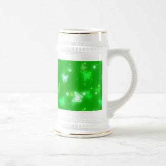 Light Glow Butterflies Bright Green Design Beer Stein
