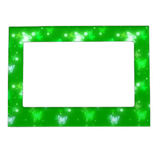 Light Glow Butterflies Bright Green Design Magnetic Photo Frame