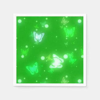 Light Glow Butterflies Bright Green Design Standard Cocktail Napkin