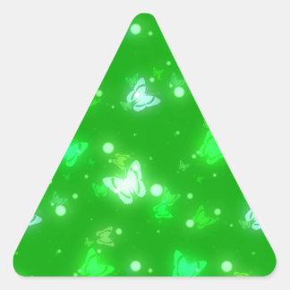 Light Glow Butterflies Bright Green Design Triangle Sticker