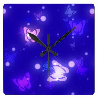 Light Glow Butterflies Dark Blue Design Square Wall Clock