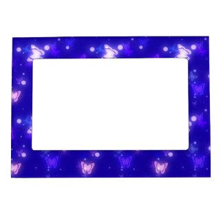 Light Glow Butterflies Dark Blue Design Magnetic Picture Frame