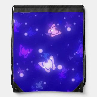 Light Glow Butterflies Dark Blue Design Drawstring Bags