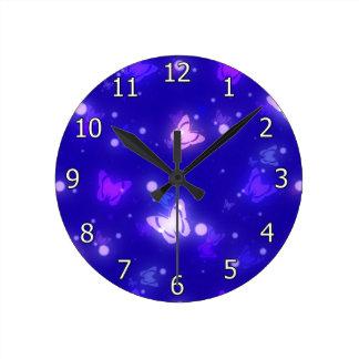 Light Glow Butterflies Dark Blue Design Round Clock