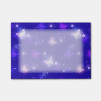 Light Glow Butterflies Dark Blue Design Post-it® Notes