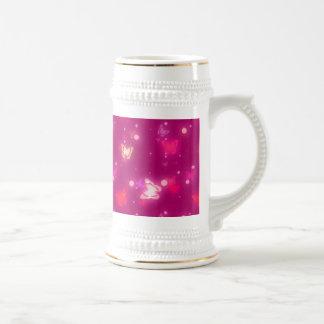Light Glow Butterflies Magenta Pink Design Beer Stein