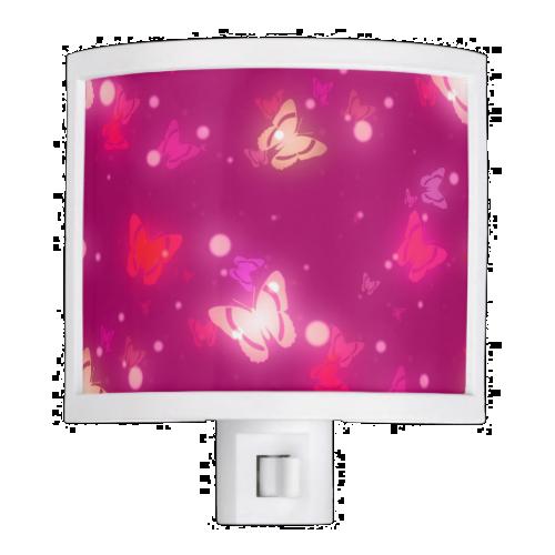 Light Glow Butterflies Magenta Pink Design Night Lite