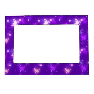 Light Glow Butterflies Violet Purple Design Magnetic Photo Frame