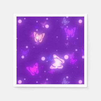 Light Glow Butterflies Violet Purple Design Standard Cocktail Napkin