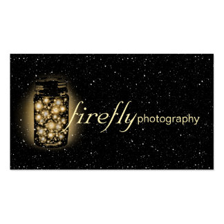 Light Glowing Jar Of Fireflies With Night Stars Double-Sided Standard Business Cards (Pack Of 100)