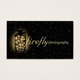 Light Glowing Jar Of Fireflies With Night Stars Business Card