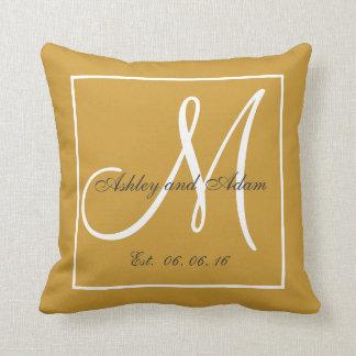 Light Gold Brown Monogram Wedding Keepsake Pillow