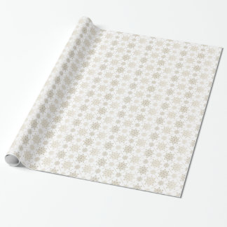 Light Gold Christmas Snowflakes Pattern Wrapping Paper