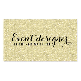 Light Gold Glitter And Sparkles Event Designer Double-Sided Standard Business Cards (Pack Of 100)