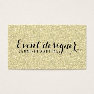 Light Gold Glitter And Sparkles Event Designer Business Card