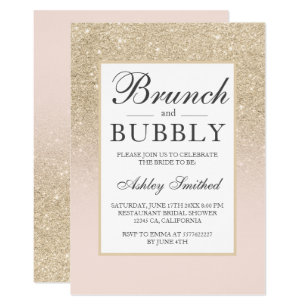 Light gold glitter brunch bubbly bridal shower invitation