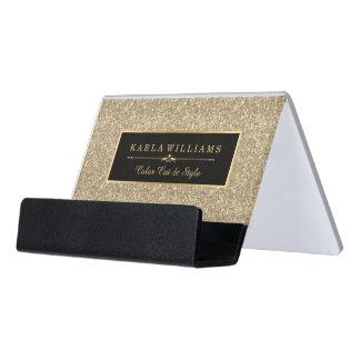 Light Gold Glitter Texture Black Accent Desk Business Card Holder