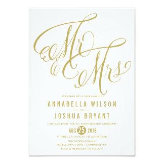Light Gold Mr. & Mrs. Elegant Script Wedding Invitation