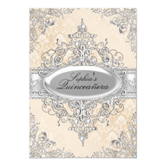 Light Gold Pearl Vintage Glamour Quinceanera Card