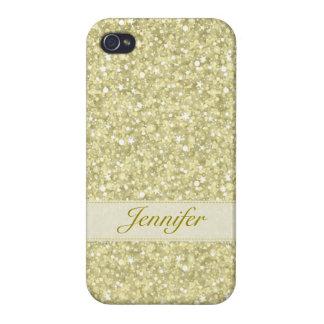 Light Gold Retro Glitter & Sparkles Monogram iPhone 4 Case