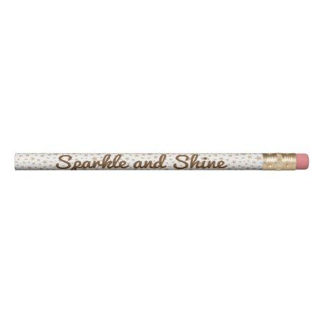Light Gold Stars Print Pattern Personalized Pencil