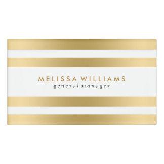 Light Gold & White Stripes Modern Design Name Tag