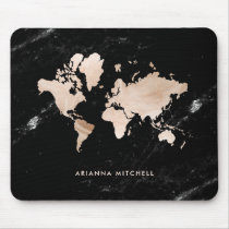 Light Gold World Map on Black Marble Mouse Pad