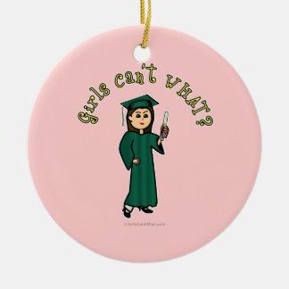 Light Graduate in Green Ceramic Ornament