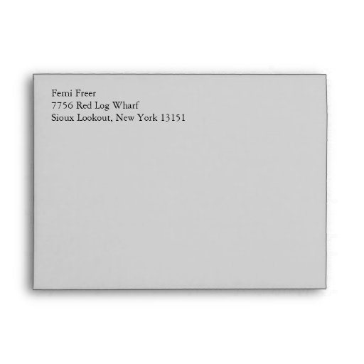 Light Gray A7 5x7 Envelopes With Return Address