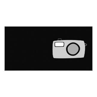 Light Gray and Black Camera. On Black. Card
