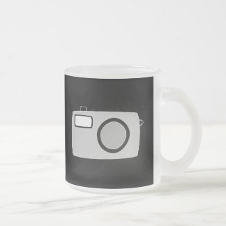 Light Gray and Black Camera. On Black. 10 Oz Frosted Glass Coffee Mug