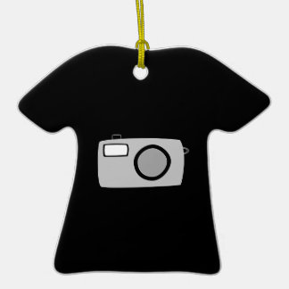Light Gray and Black Camera. On Black. Double-Sided T-Shirt Ceramic Christmas Ornament