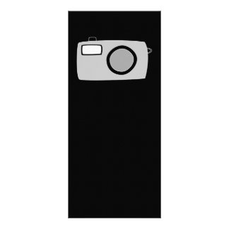 Light Gray and Black Camera. On Black. Customized Rack Card