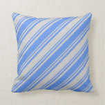 [ Thumbnail: Light Gray and Cornflower Blue Colored Pattern Throw Pillow ]