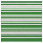 [ Thumbnail: Light Gray and Dark Green Striped Pattern Fabric ]