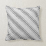 [ Thumbnail: Light Gray and Grey Lined Pattern Throw Pillow ]
