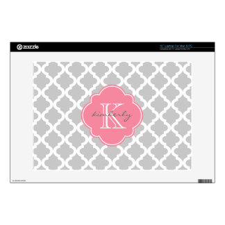 Light Gray and Pink Moroccan Quatrefoil Print Decals For Laptops