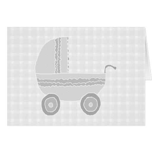 Light gray and white baby pram. cards